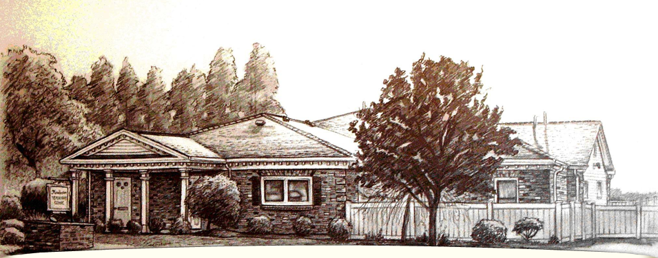 Sketch drawing of Manchester Veterinary Clinic done by Courtney Autumn Martin in 2007 - click to learm a little more about Courtney & this sketch - Manchester Veterinary Clinic - CT Trusted Vets For Your Pets
